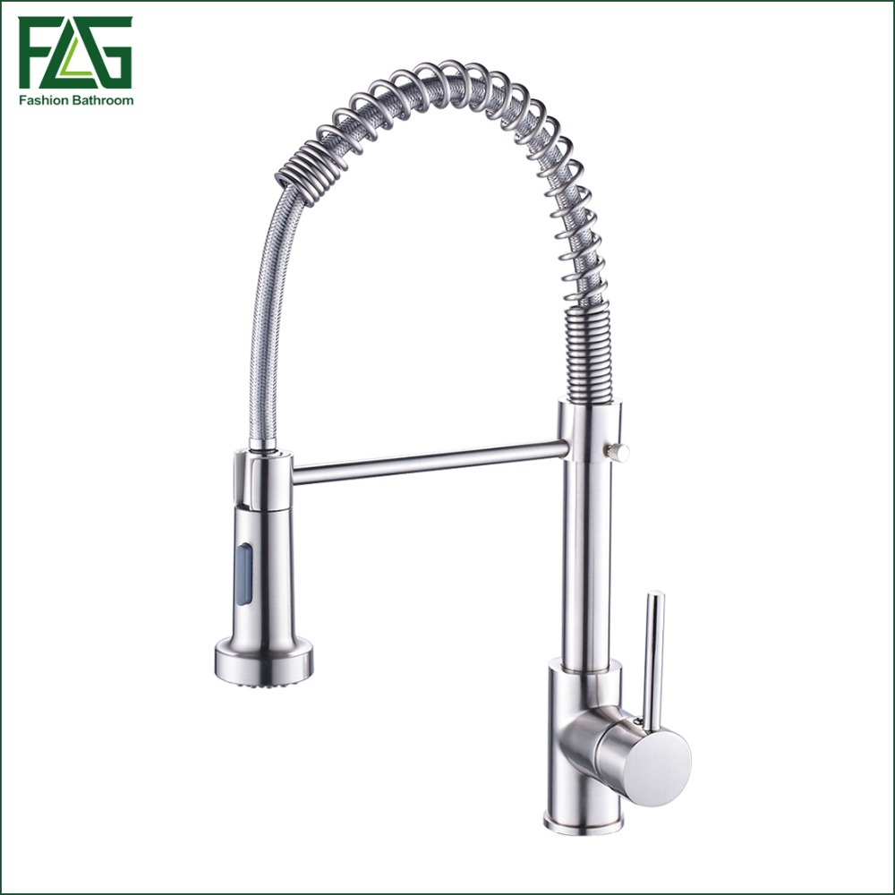 Spring Style Kitchen Faucet Brushed Nickel Faucet Pull Out Torneira All Around Rotate Swivel 2-Function Water Outlet Mixer Tap(China (Mainland))