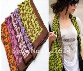 FREE Shiping Christmas Gift 6Pcs/LOT New graffiti fluorescent letters Women Silky Rayon Scarves Chiffon Shawl long scarf