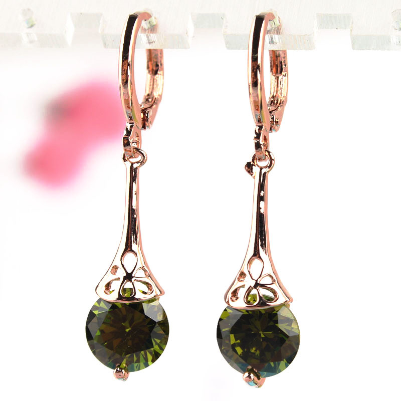Hot Sale Green Crystal Long Earrings Fashion Women 18k Gold Plated CZ Diamond Pierced Drop Dangle Earrings Party Jewelry(China (Mainland))