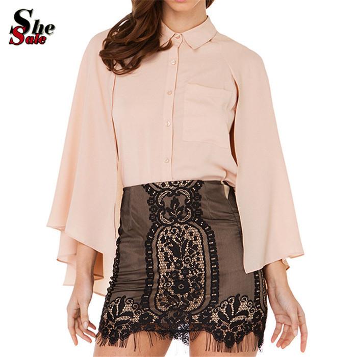 Formal Office Lady Design Female Summer Pink Lapel Buttons Split Long Sleeve Pocket Slim Chiffon Cape Blouse(China (Mainland))