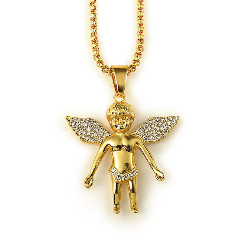 """18K Real Gold Plated Iced Out Cherub Baby Boy Angel Hip Hop Micro Pendant Necklace and 29.5"""" Box Chain Hip Hop Necklace(China (Mainland))"""