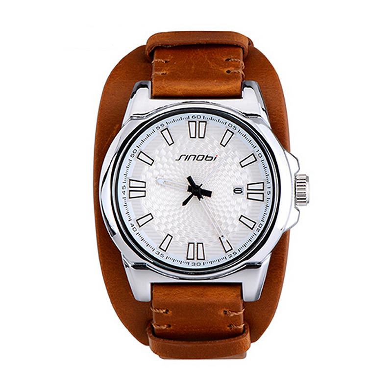 SINOBI Famous brand Men Leather Strap army Watch Quartz Watches Date Calendar Analog Sports Military Wristwatches