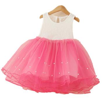 Лето девочки платье пэчворк принцесса младенцы 4 цвета платье жемчуг сетчатая ткань прекрасный ну вечеринку платье для девочка малыш платье
