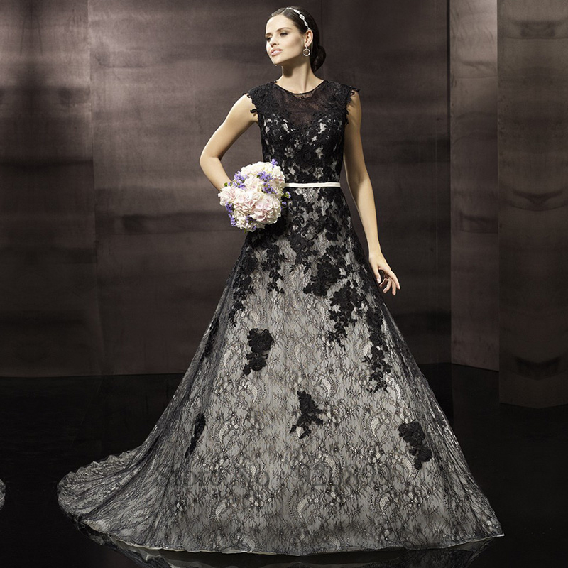 Black Wedding Dress With Train : Black and white wedding dress cap sleeve scoop zipper bridal gown