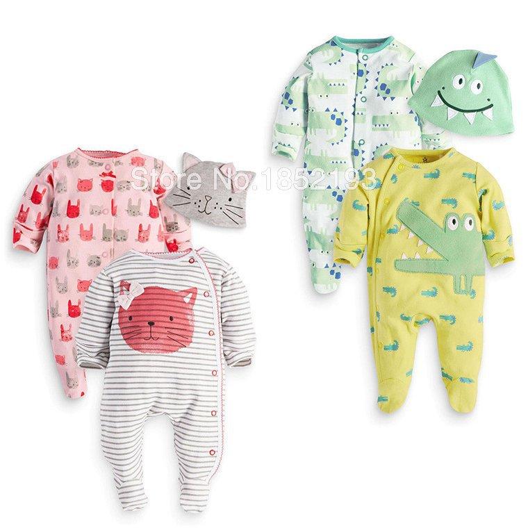 3 Pieces set 2 rompers cap infantil clothes baby girl