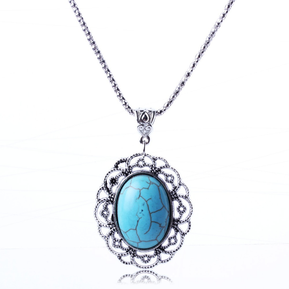product Boximiya Adorn Article Hollow-out Decorative Pattern Pendant Necklace Vintage Silver Ellipse Turquoise Necklace For Women XL5631