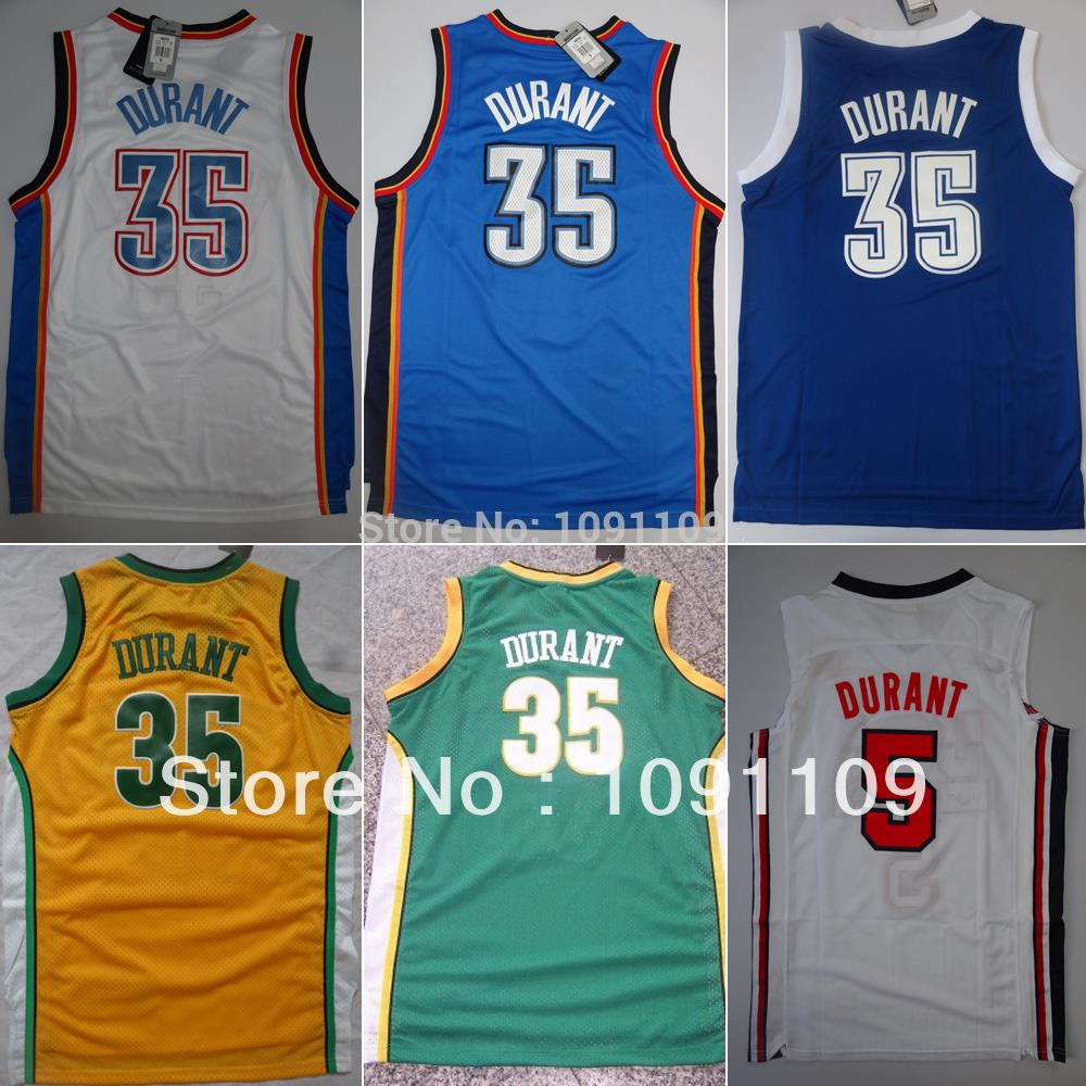 KEVIN DURANT Oklahoma 35 Jersey, Kevin Durant Jersey of Home, Away, Alternate, Throwback, Durant Jersey Mens S-3XL Free Shipping(China (Mainland))