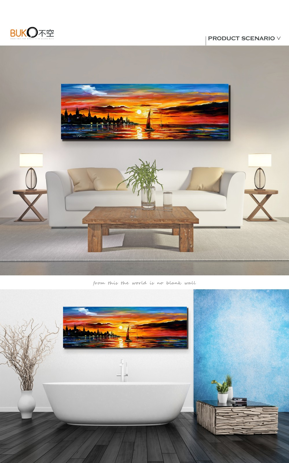 Buy 100% Hand-painted landscape oil painting marine on canvas palette knife seaside Sunset paintings art wall decoration painting cheap