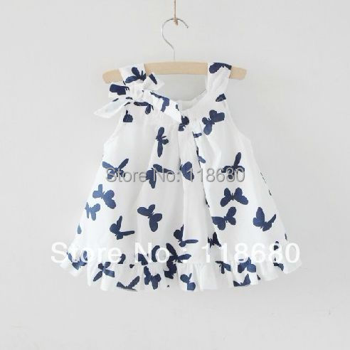 sale Spring summer children's dress baby girl bow dresses kids cute sleeveless princess - Lily' house store