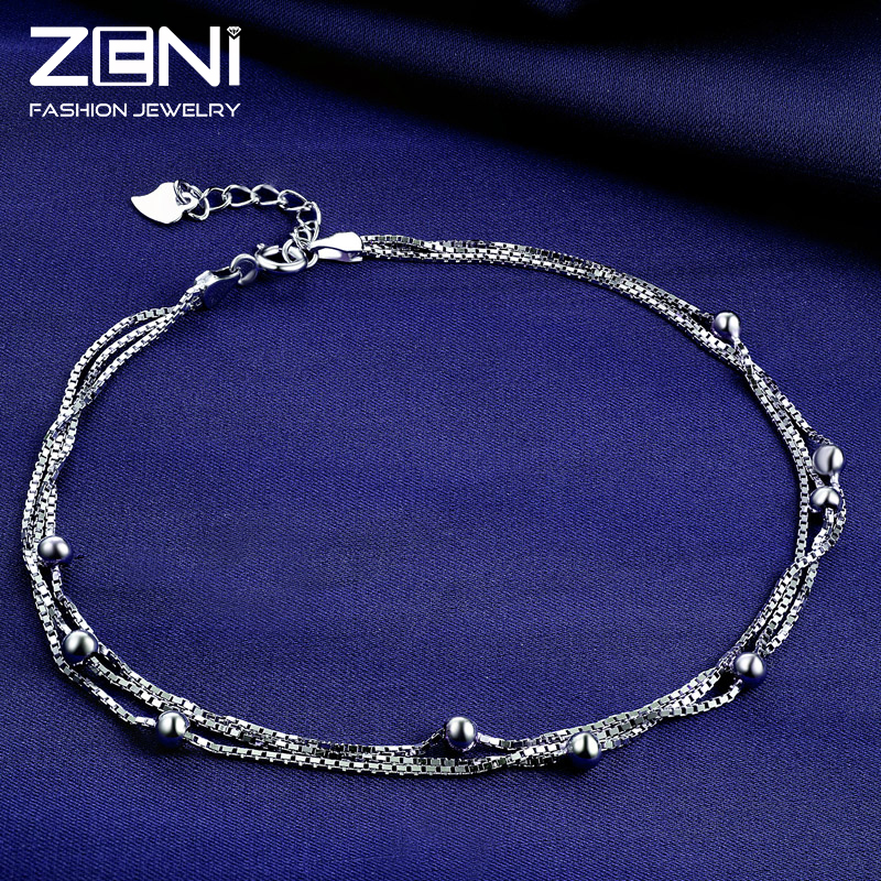 2016 Fine Jewelry Genuine 925 Sterling Silver Anklets for Women Fashion Design Valentines Day Gift for Women Zeni Jewelry<br><br>Aliexpress