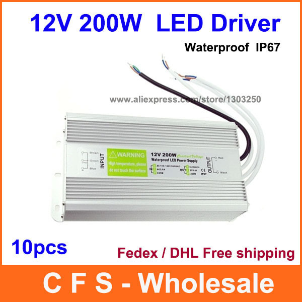 10pcs DC LED Driver 12V 200W Waterproof Electronic Driver Transformer, 12V Power Supply Lighting Transformers Free Shipping(China (Mainland))
