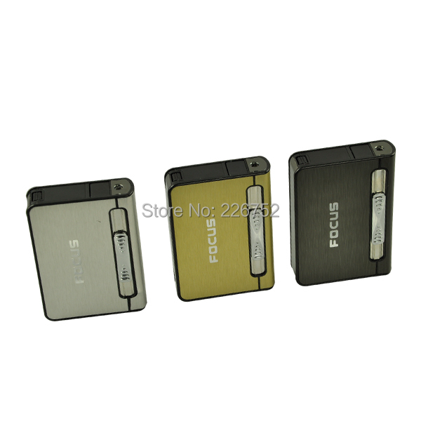Fashion Brushed Metal Cigarette Case Dispenser with Butane Jet Torch Lighter Holds 12pcs Cigars Free Shipping(China (Mainland))