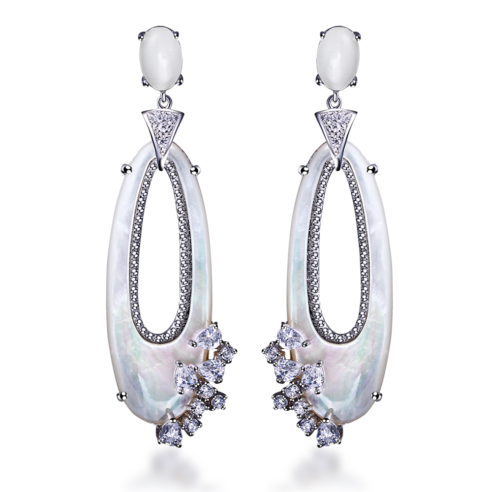 New Look White Shell Drop Earrings Of Women Gold Gun Platinum Plated AAA Cubic Zirconia Stone Anti Allergy Earrings Silver Pin<br><br>Aliexpress