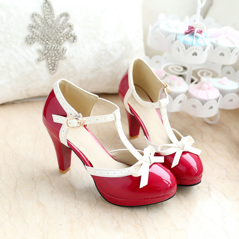 Big Size summer pumps princess sweetness women sandals 8.5cm high heels T-straps girl PU round toe bowtie factory outlets shoes(China (Mainland))