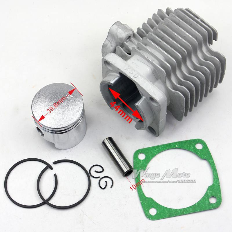 43cc 49cc Pocket Bike Cylinder Kit 44mm Bore for 2 Stroke Gas Scooter Mini Pocket Bike(China (Mainland))