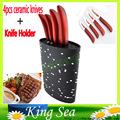 Oval shape plastic universal knife holder with 4pcs Flower printed 3 4 5 6 ceramic knives