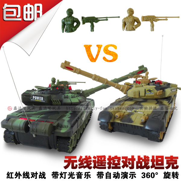 Rc tank remote control car Large tanks automatic 360 deg . rotating toy(China (Mainland))