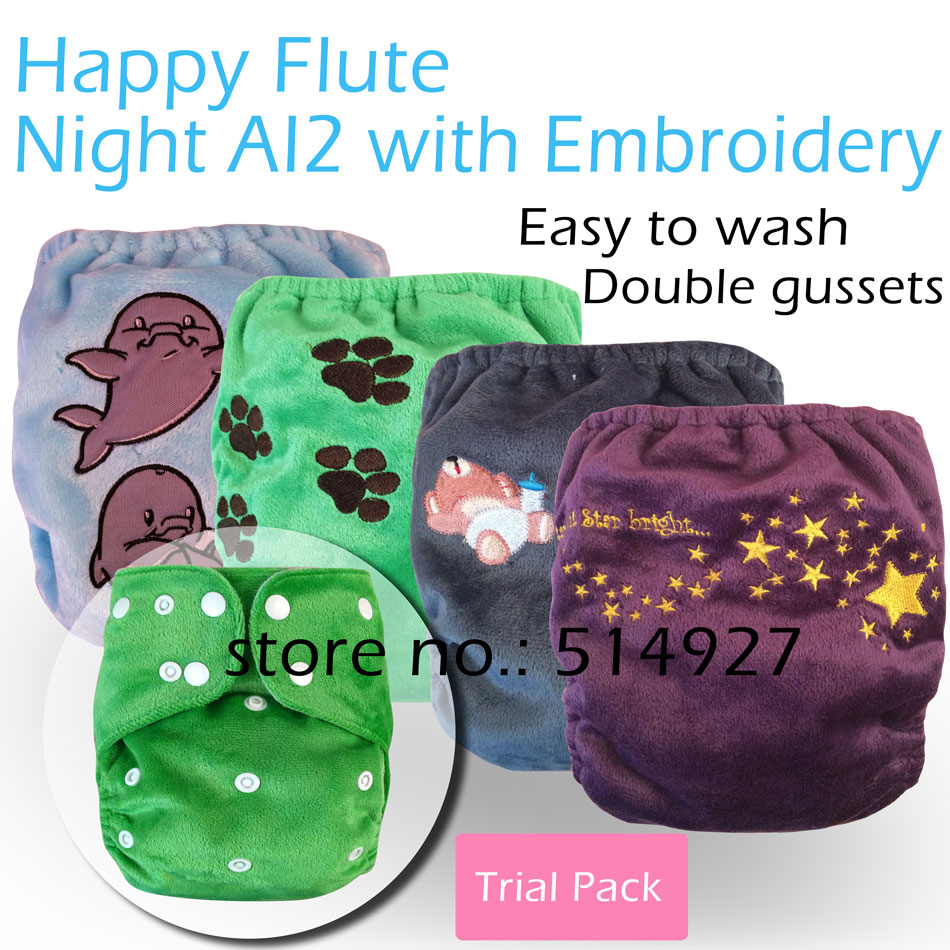 Happy Flute Minky Night AI2 diaper with embroidery,including a sewn-in insert  and tongue insert, fit babies 3-15kg<br><br>Aliexpress
