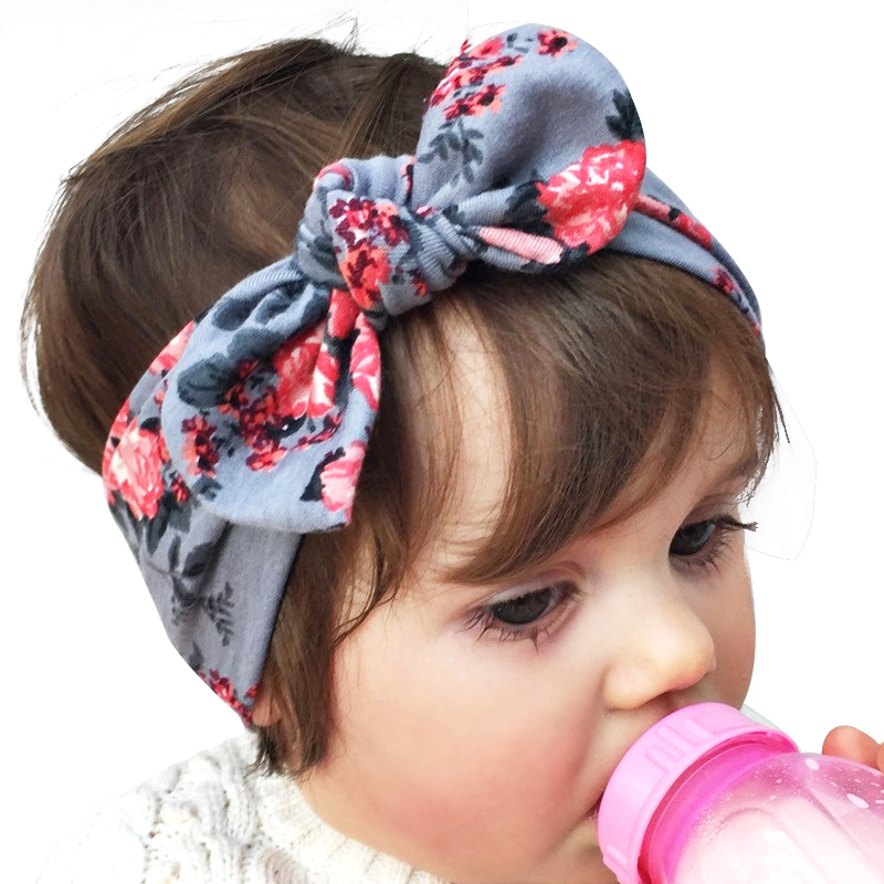 Norvin Newborn Baby headband Elasticity Hair accessories Turban Knot 6 colors bow floral Rabbit Toddler Infant Hairband KT019(China (Mainland))