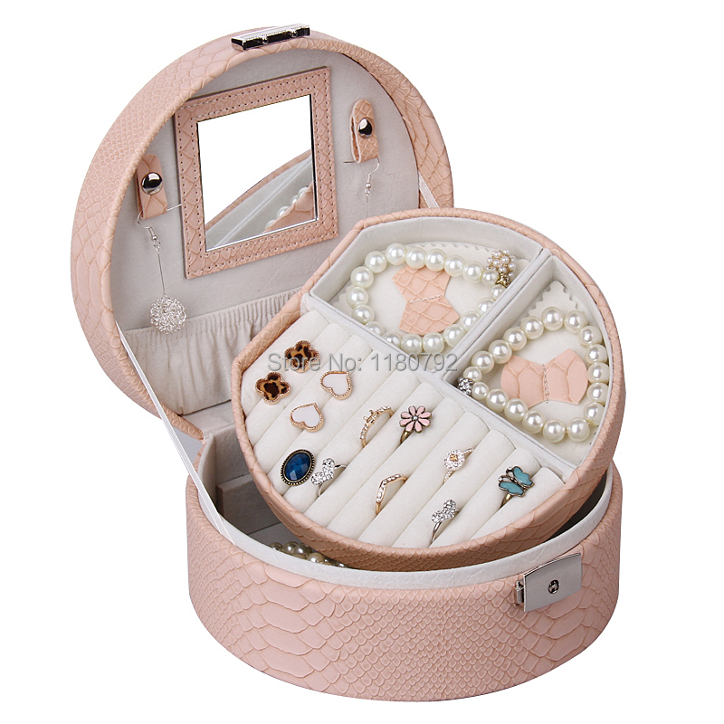 [ROWLING] Salmon Pink Portable Jewelry Box Ring Beads Cufflinks Display Storage Case Watch Box Faux Leather ZG007(China (Mainland))