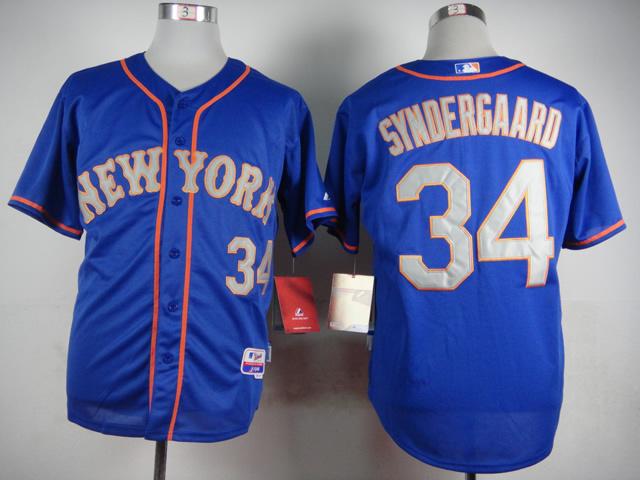 2015 New York Mets Mens Jerseys #34 Noah Syndergaard Blue Baseball Size 48-56 4763