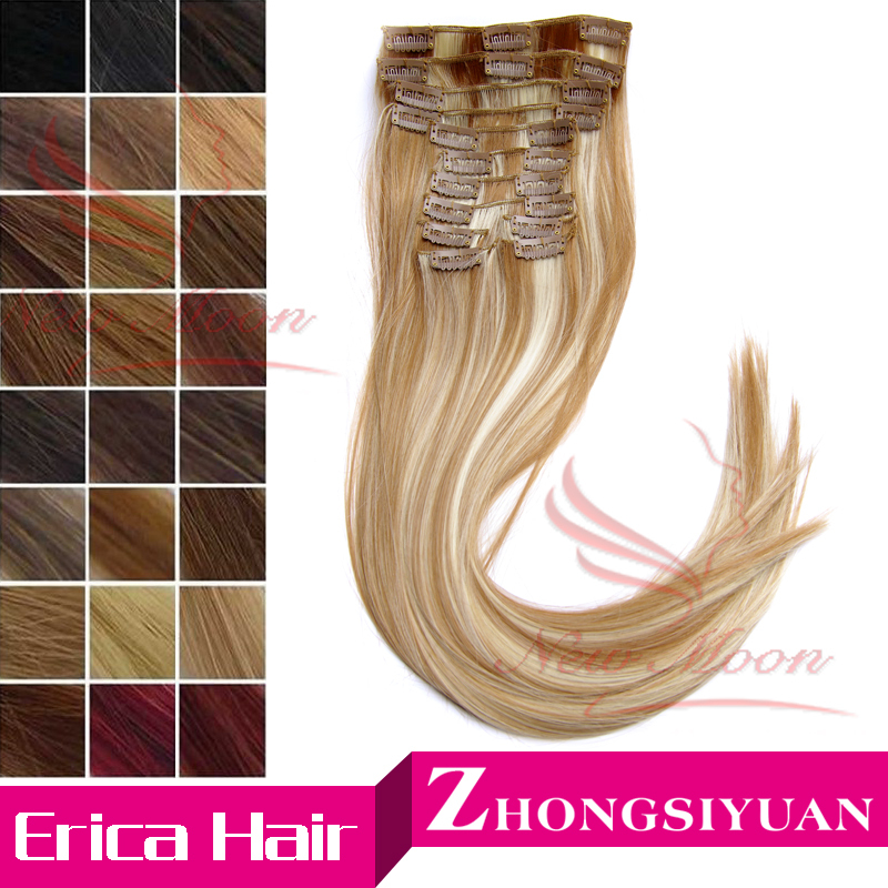 Free Shipping Long 22inch 55cm Synthetic Clip In Hair Extensions High Temperature Fiber Straight Hair Extension Multicolor 100g(China (Mainland))
