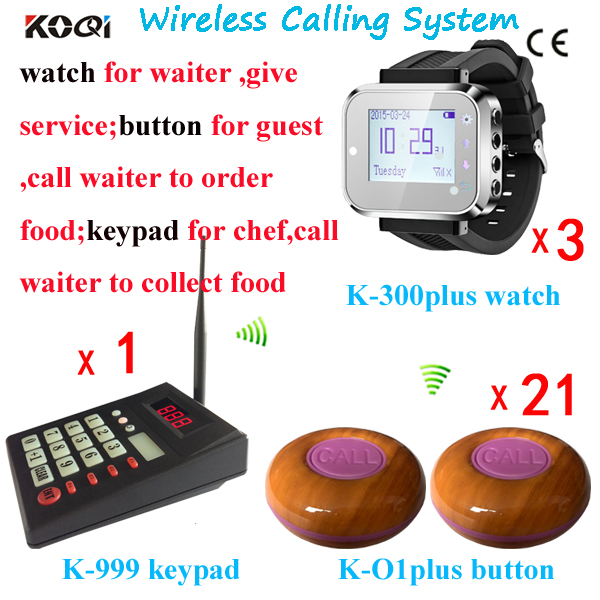 Catering Services Digital Waiter Calling System Kitchen Equipment 1 Keypad 3 Watch Receivers 21 Table Buzzer Free Shipping(China (Mainland))