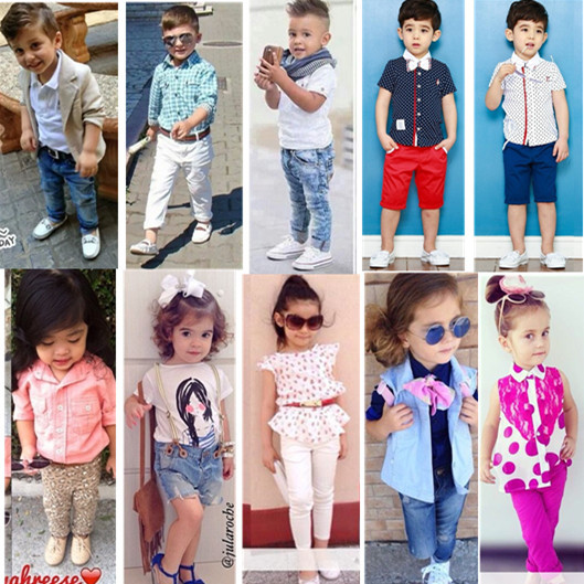 2015 Girls Fashion Suits Gentleman Suit Boys T shirt and jeans set children s kids clothes