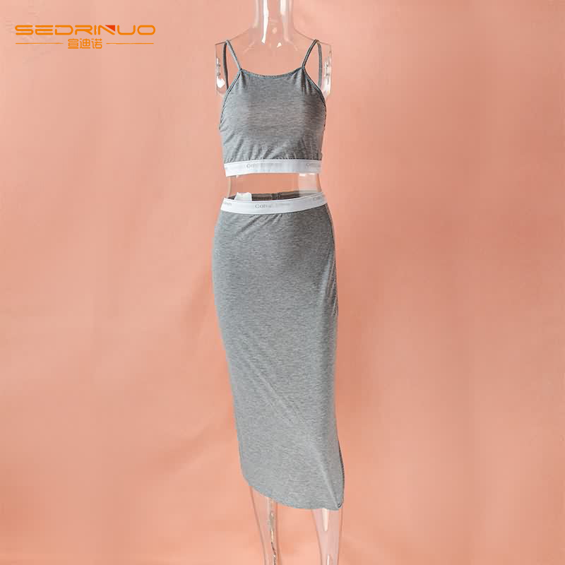 Гаджет  2015 Hot sale Exclusive Women High Waisted cotton Cropped Outfit  O-neck Sleeveless Dress White and Gray Two Pieces For Freeship None Одежда и аксессуары