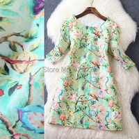 2015 Spring Summer DRESS New arrival Fashion Brief fashion O-neck fifth sleeve 3D Print Silk Linen Women Dress Summer Style
