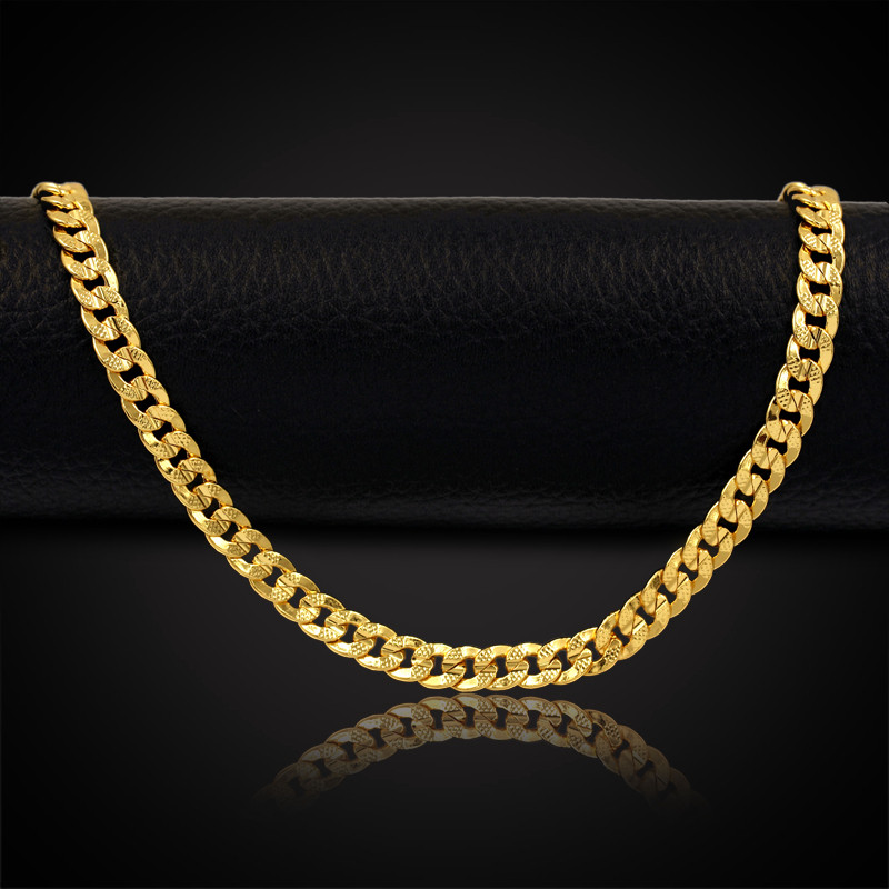 Unique Design Link Chain 18K Real Gold Plated Fashion Jewelry Men Women Gift, Beautiful Cheap Chunky Necklaces(China (Mainland))