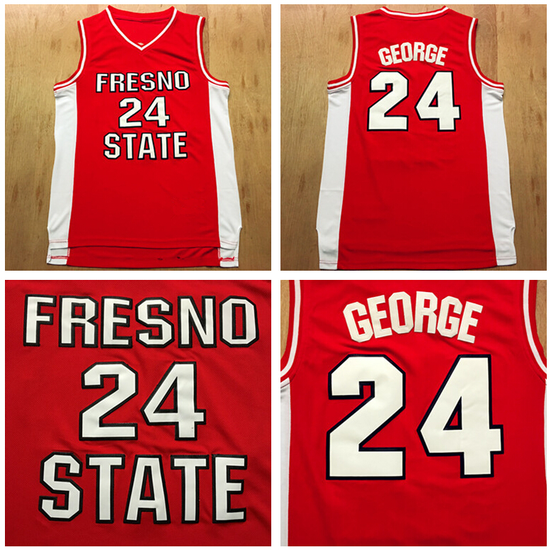 Fresno State Bulldogs Paul George College Jersey 24 University Basketball Shirt Red White Color All Stitched Good Quality<br><br>Aliexpress