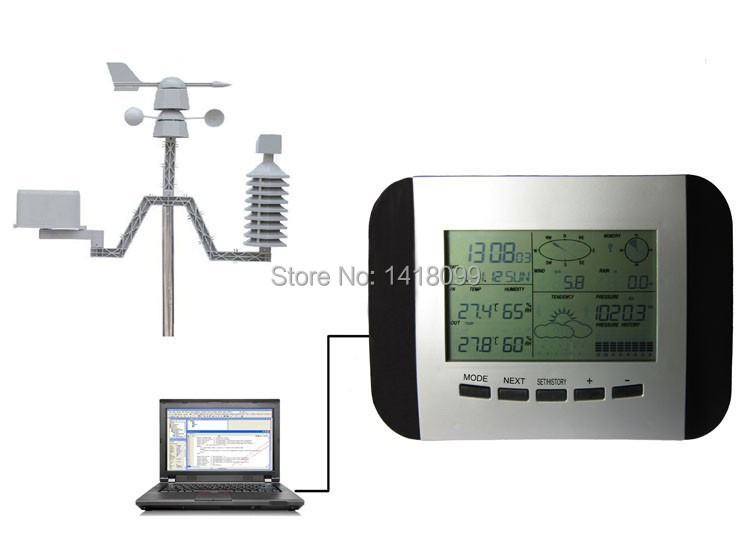 Automatic Wireless Connection RF Control 433mhz Home Use Weather Station Clock Solar Power PC Interface Weather Center WH1041(China (Mainland))