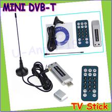 Wholesale 1pcs Hot  Mini DVB-T Digital USB 2.0 HDTV TV Stick Tuner Receiver Recorder W/Remote Drop free shipping