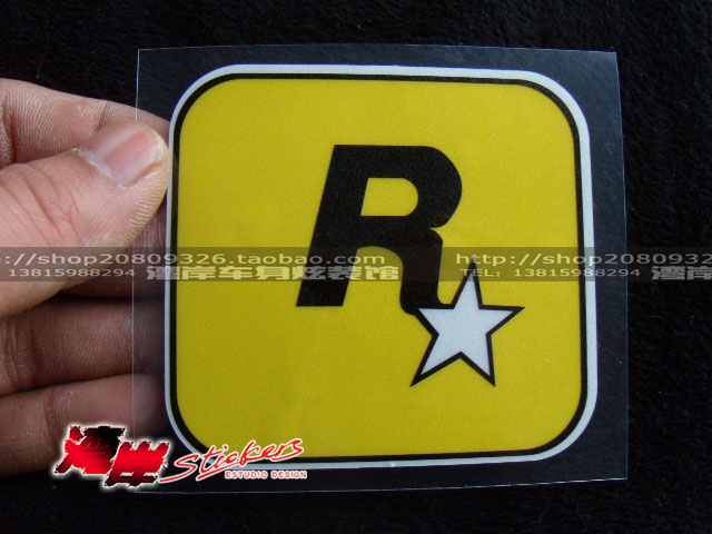 Hot selling reflective sleekly style car stickers rockstar games yellow Big decal(China (Mainland))