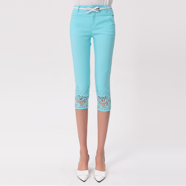 2015 new women clothing fashion summer lace gauze crochet patchwork capris female skinny slim trousers candy color pants(China (Mainland))