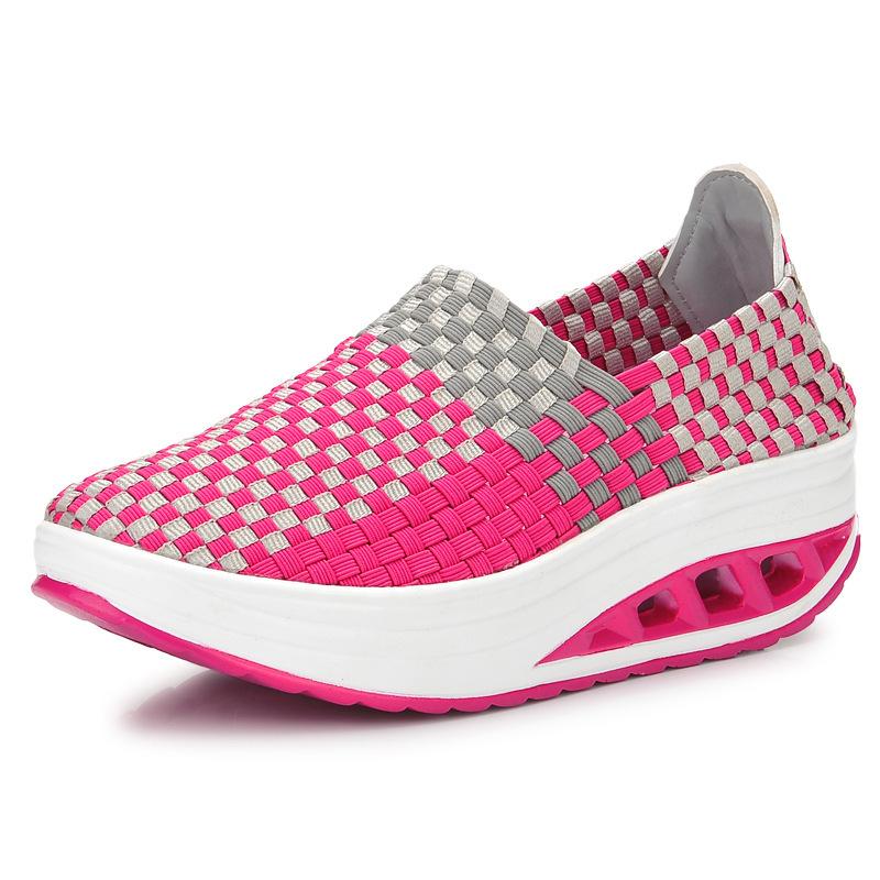 2016 New fashion women casual shoes Weave wedges platform Women shoes(China (Mainland))