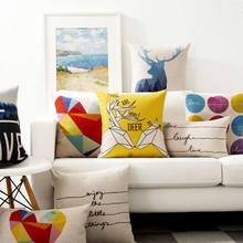 Free Shipping!!Colorful geometric square throw pillow/almofadas case,european cushion deer polka dot letter cover home decore(China (Mainland))