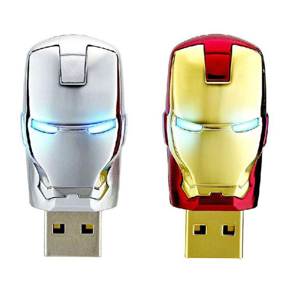 Real capacity usb flash drive 4GB 8GB 16GB 32GB 64GB Avengers marvel USB pendrive iron man with light pen drive memory stick(China (Mainland))