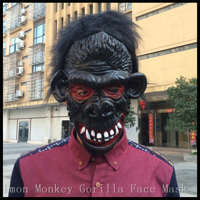 Hot sale Full Face Halloween Props Costumes Dress Carnival Parties Cosplay Black Gorilla Mask Horror Masquerade Adult Ghost Mask(China (Mainland))