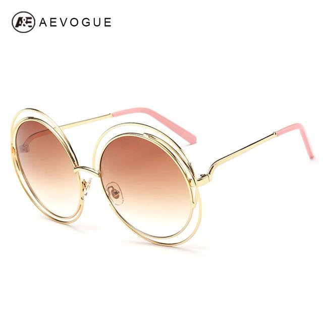 Aevouge бесплатная доставка новые мода бренд солнцезащитных очков женщин сплав круглый рамы высокое качество солнцезащитные очки UV400 AE0175