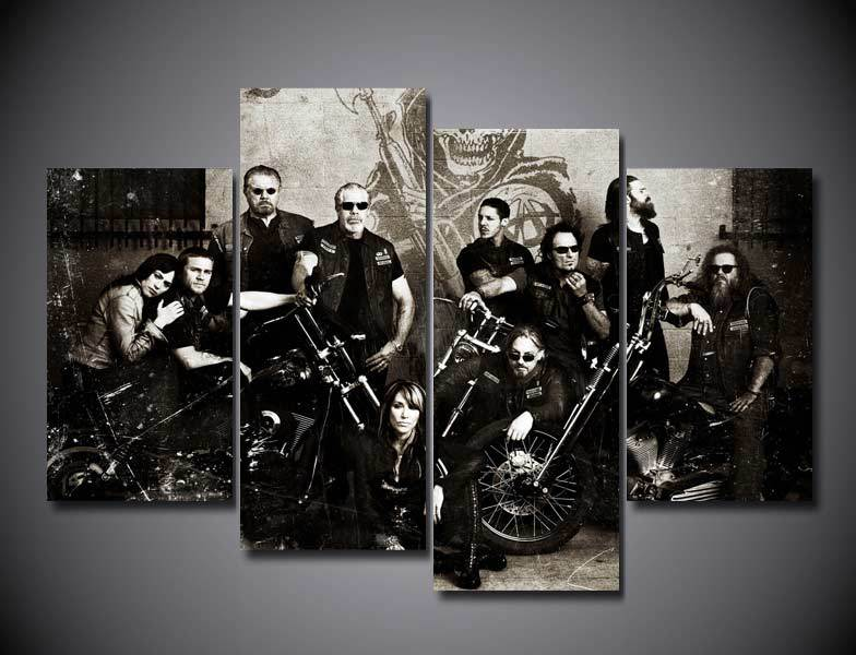 Wall Art 2016 Sale Rushed Fashion Unframed Sons Of Anarchy Soa Samcro Painting On Canvas Room Decorae Picture Livingroom Deco(China (Mainland))