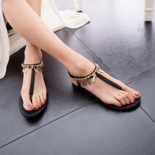 New 2015 vintage summer flat sandals triangle metal women's shoes belt clip flip-flop shoes and bags black and Sliver(China (Mainland))