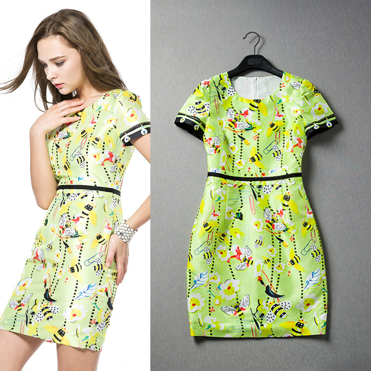2015 spring summer new European American women color printing stitching short-sleeved dress - Fashion Kiss store