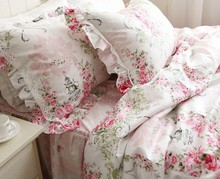 princess Pink ruffle lace bedding sets,romantic floral duvet cover set,twin queen king full(China (Mainland))