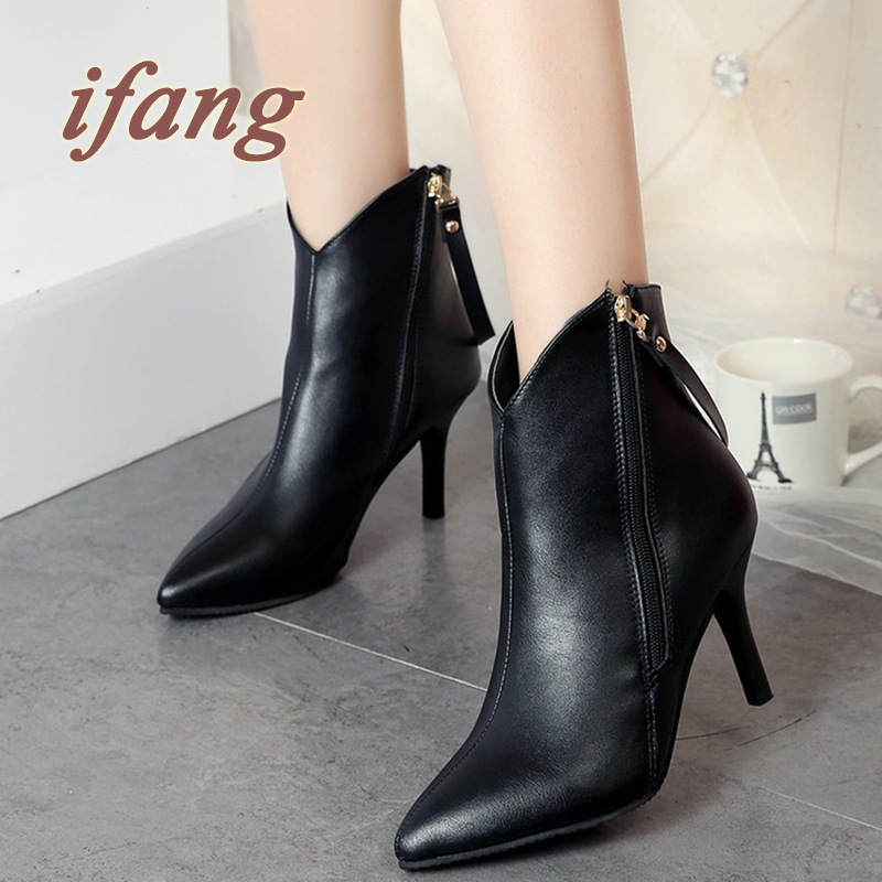 Winter Fashion Women Ankle Buckle Boots High Heels Platform Pumps Suede Buckle Stiletto  Ankle Boots Thin Heels Short Boots