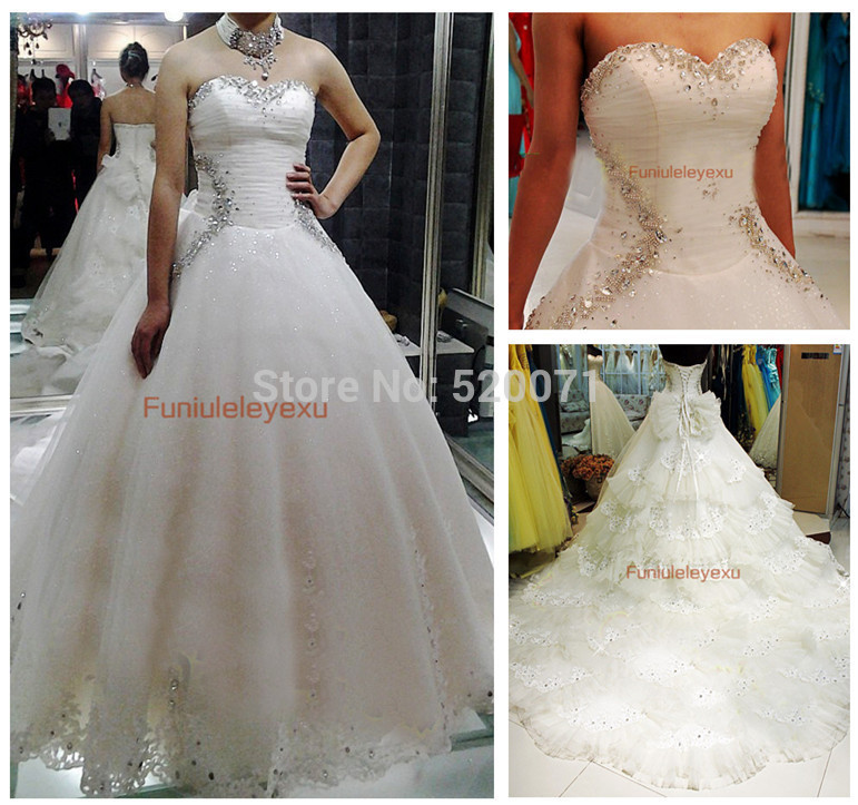 Luxury A Line Sweetheart Court Train Crystal White Ivory Tulle Wedding Dresses Dreaming Designer Bridal Gowns(China (Mainland))