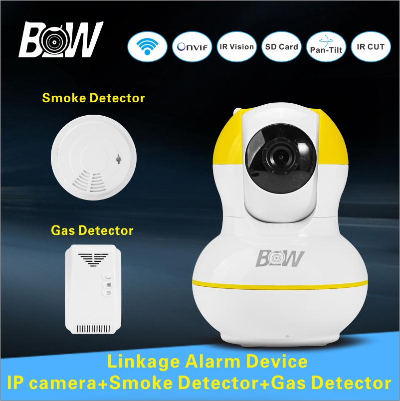 Infrared Camera Security Onvif IP Camera + Smoke Detector/Gas Detector Wifi Camera Baby Monitor Home Alarm System Security BW12Y(China (Mainland))