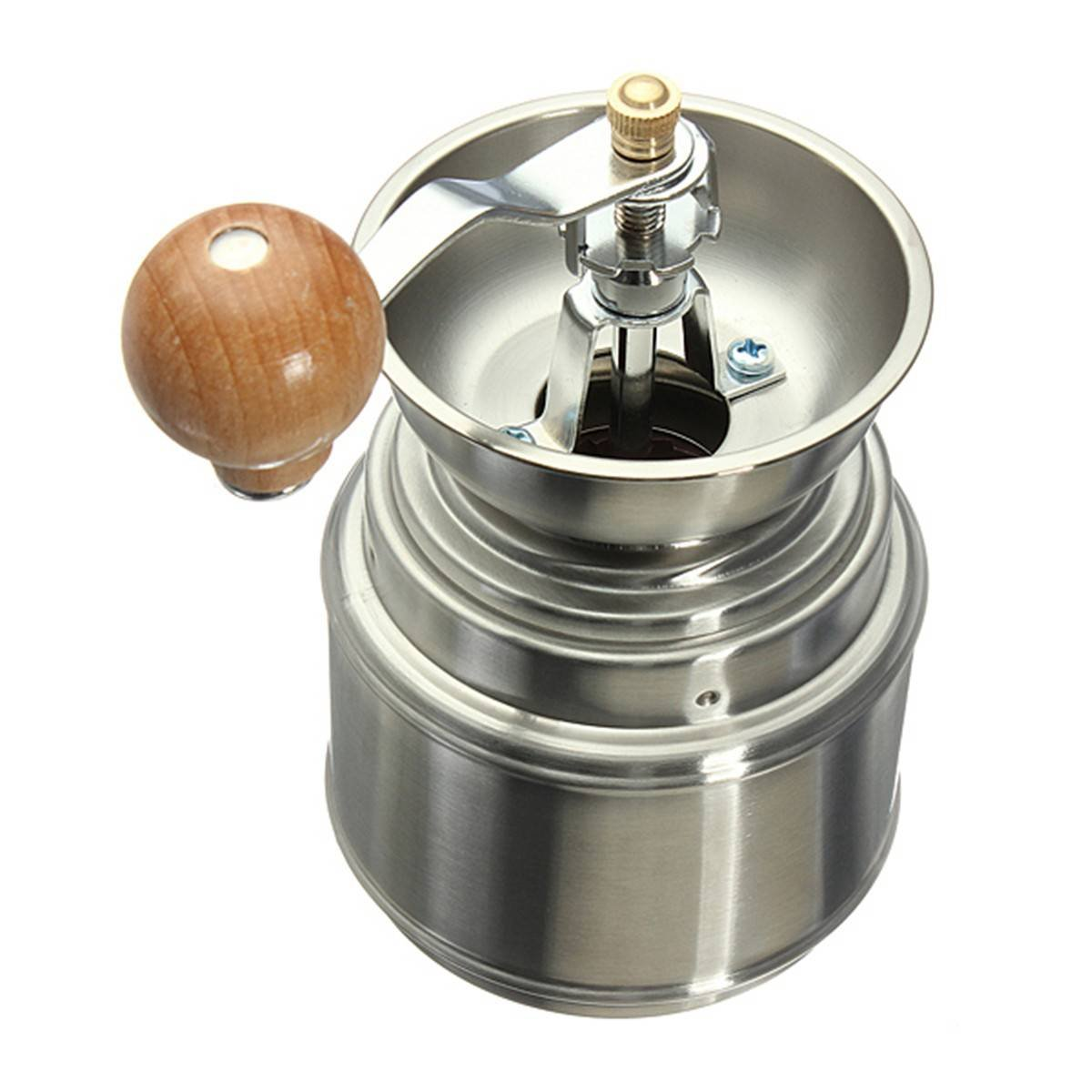 GSFY!Stainless Steel Manual Spice Bean Coffee Grinder Burr Mill Ceramic Core