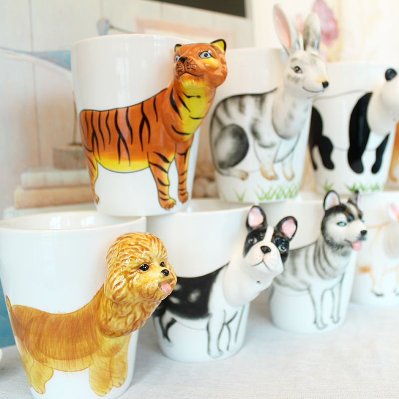 2017 Promotion Novelty Styles 3D Animal Ceramic Cup 400ml Milk Cute Coffee Mug Tea Cup Home Office Drinkware Unique Gift(China (Mainland))